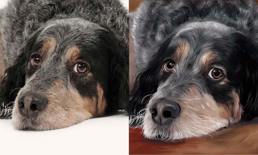 hond olieverf schilderij