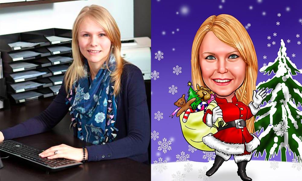 vrouw kerst karikatuur